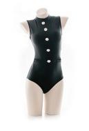 Black One Piece Swimsuit Academy Uniform Style Swimwear