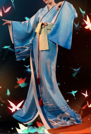 Dark Blue Gradient Color Mermaid Bathrobe Japanese Style Woman Kimono Bathrobe