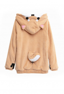 Cute Warm Shiba Inu Hoodie Thick Fluffy Japanese Style Hoodie Coat