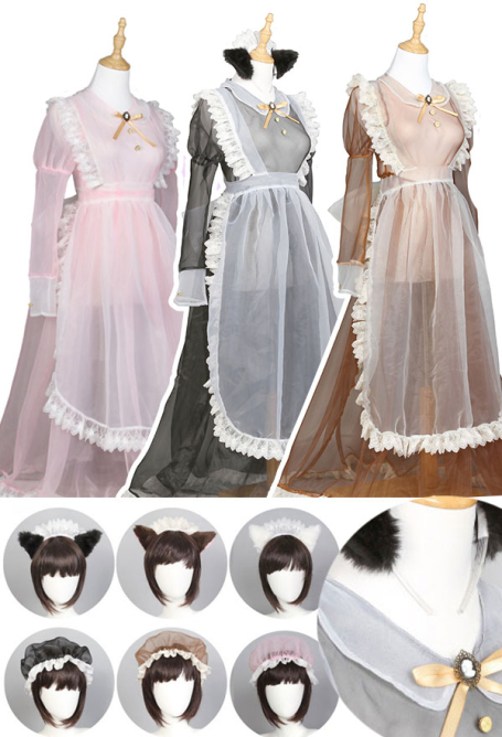 Cute Lace See Through Japanese Style Maid Long Dress