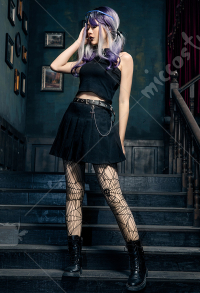 Gothic Costume Japanese Harajuku Style Academy Cross Chain High Waist Skirt
