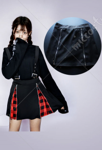 Gothic Black and Red Suspender Skirt Plaid Short Skirt with Zipper