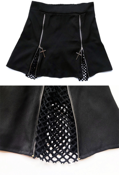 Dark Gothic Black Women Hollow Out Short Skirt with Cross Zipper