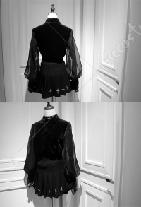 Dark Gothic Chiffon Court Retro Shirt with Balloon Sleeves