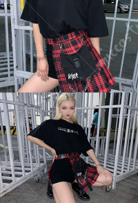 Gothic Plaid Pleated Skirt High Waist A Line Skirt Shorts with Bag