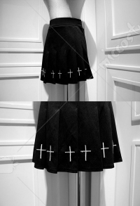 Gothic Black Cross Emdroidery Pleated Skirt Retro Short Skirt for Women