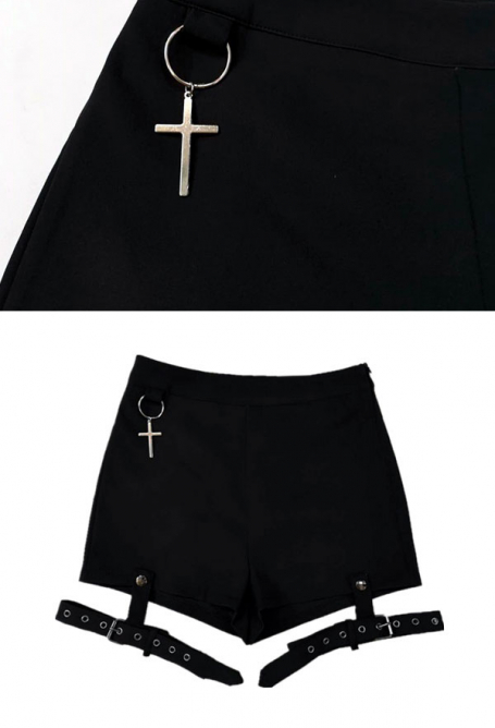 Dark Punk Style Costume Cross Pendant Girl Gothic Tight High Waist Shorts With Removable Thigh Ring