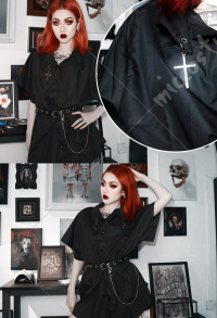 Dark Gothic Costume Female Loose Black Cross Shirt