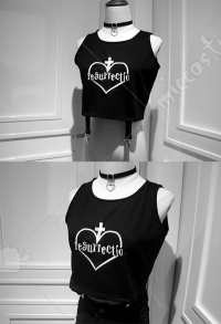 Dark Gothic Japanese Style Vest Black Heart Embroiddery Short Top
