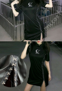 Dark Gothic Black High Split Dress Cheongsam Style Punk Embroidery Dress