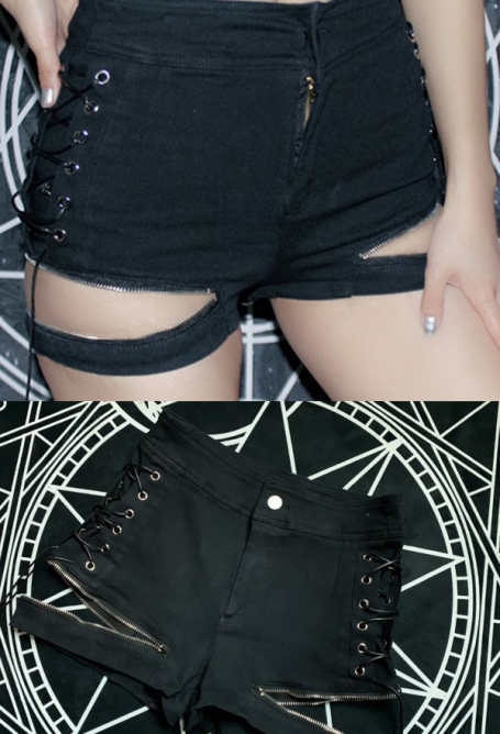 Punk Dark Style Black Cute Hollow Out Hot Pants for Women