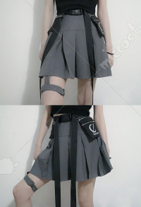 Cyberpunk Girls Pleated Skirt Daily Short Skirt with Bag