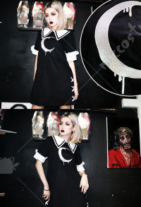 Dark Gothic Costume Summer Lace Color-matching Sailor Uniform Female Stripe Embroidery Dress