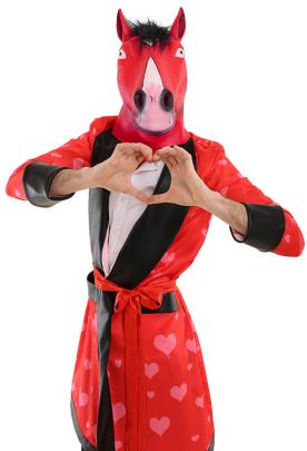 Mr.Love Red Heart Adult Men Long Bathrobe Pajamas Sleepwear For Party