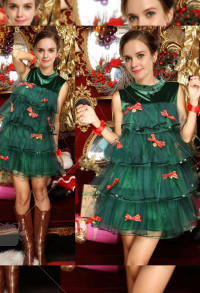 Christmas Party Costumes Women Cute Green Christmas Tree Cosplay One Piece Dress