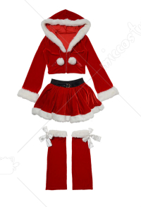 Christmas Party Costumes Women Cute Red Santa Clothes Cosplay Two Piece Costume with Long Sleeves