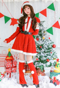 Christmas Santa Claus Cosplay Costume Women Warm Christmas Party Dress with Hat