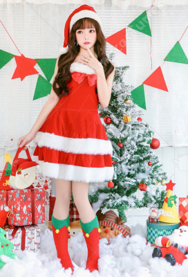 Christmas Girls Children Party Costume Santa Claus Red Cute Plush Dress with Hat