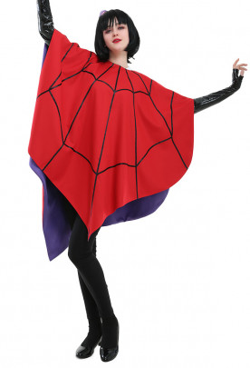 Lydia Deetz Animated Cosplay Costume Red Spider-web Cloak with Gloves