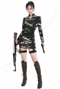 Womens Sexy Army Paratrooper Costume Military Uniform Commando Soldier Camo Romper Halloween Dress