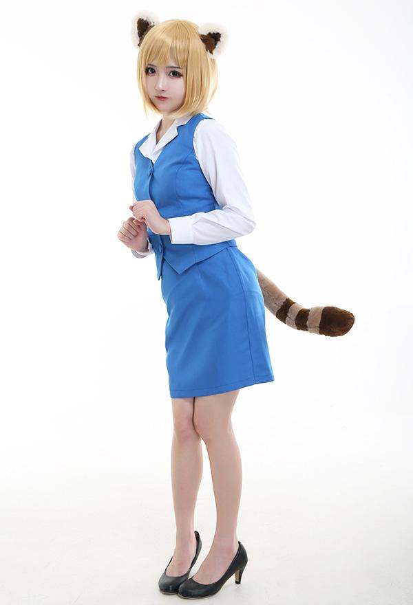 Aggressive Retsuko Aggretsuko Retsuko Cosplay Kostüm Uniform Anzug mit Schwanz und Ohren