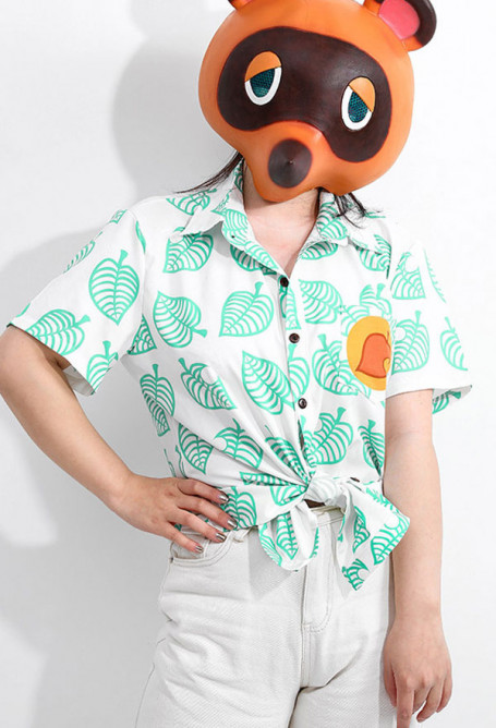 Animal Crossing Tom Nook Tanukichi Raccoon Dog Cosplay Costume T-shirt Clothing for Adults and Kids