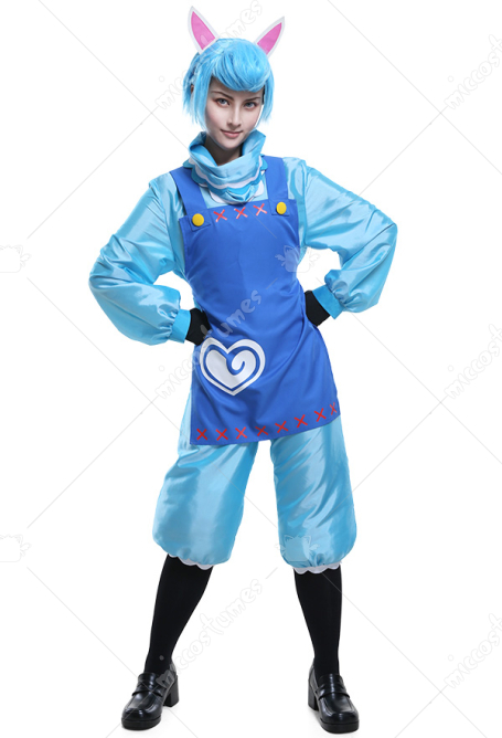 Animal Crossing New Leaf ReTail Alpaca Cyrus Kaizo Blue Coveralls Cosplay Costume Full Set with Ears and Gloves