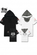 Manchy Assassin's Creed Syndicate Cosplay Hooded T-shirt Short Sleeves