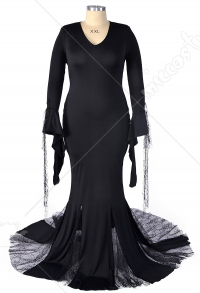 Plus Size The Addams Family Morticia Addams Cosplay Costume