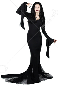 The Addams Family Morticia Addams  Dress Cosplay Costume for Halloween