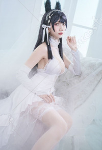 Azur Lane Cosplay Atago Cosplay White Flower Oath Cosplay Costume Wedding Dress