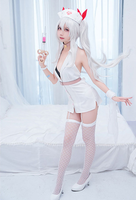 Azur Lane Vampire Little Devil in White Teufel Krankenschwester Cosplay Kostüm