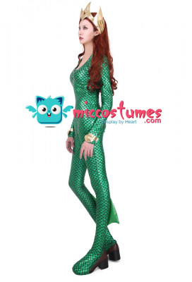 Super Heroine Cosplay Costume Jumpsuit with Crown Inspired by Aquaman Mera Make to Order