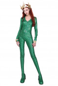 Super Heroine Cosplay Costume Jumpsuit with Crown Inspired by Aquaman Mera Order to Made