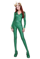 Aquaman Mera Cosplay Costume Jumpsuit with Crown