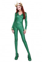 Super Heroine Queen of the Sea Mera Cosplay Costume Jumpsuit with Crown