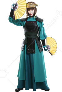 Avatar Suki Women Kyoshi Warrior Outfit Suit Cosplay Costume with Handguard and Headwear