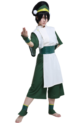 Avatar The Last Airbender Toph Beifong Adult Green Kungfu Suit Cosplay Costume with Hairband