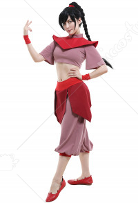 Avatar Ty Lee Women Kungfu Wear Suit Cosplay Costume Uniform with Wrist Support and Headwear