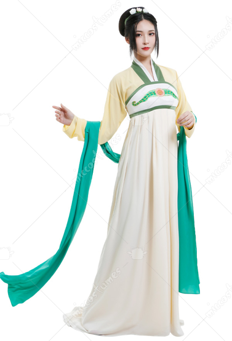 Avatar The Last Airbender Toph Beifong Cosplay Costume Ancient Chinese Style Dress Hanfu Full Set with Headwear Shawl