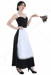 Women's Feather Duster Babette Cosplay Costume Shaped Maid Dress with Apron and Headress for Halloween