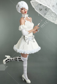 Black Butler The Princess of Circus Doll White Dress Cosplay Costume with Roses Hat
