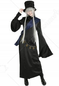 Black Butler Kuroshitsuji Undertaker Grim Reaper Cosplay Costume with Hat