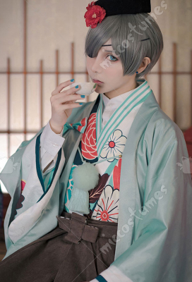 Black Butler Ciel Phantomhive Funtom Cafe Kimono Anime Cosplay Costume