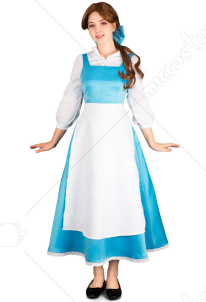 Anime Film Belle Cosplay Costume Blue Maid Dress Inspired by Beauty and the Beast