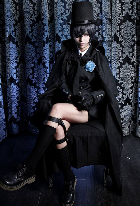 Black Butler Ciel Black Funeral Uniforme