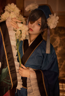 Black Butler Ciel Cosplay White Lotus Dark Blue Chinese Style Costume Kimono