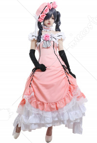 Black Butler Ciel Phantomhive Female Cosplay Costume Dress with Hat