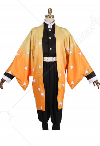 Demon Slayer Kimetsu no Yaiba Agatsuma Zenitsu Demon Killing Corps Demon Hunter Uniform Cosplay Costume