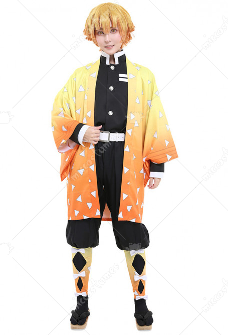 Demon Slayer Kimetsu no Yaiba Agatsuma Zenitsu Demon Slaying Corps Dämonenjäger Uniform Cosplay Kostüm